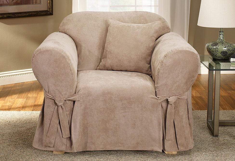 Soft Suede One Piece Chair Slipcover | Form Fit | Machine Washable