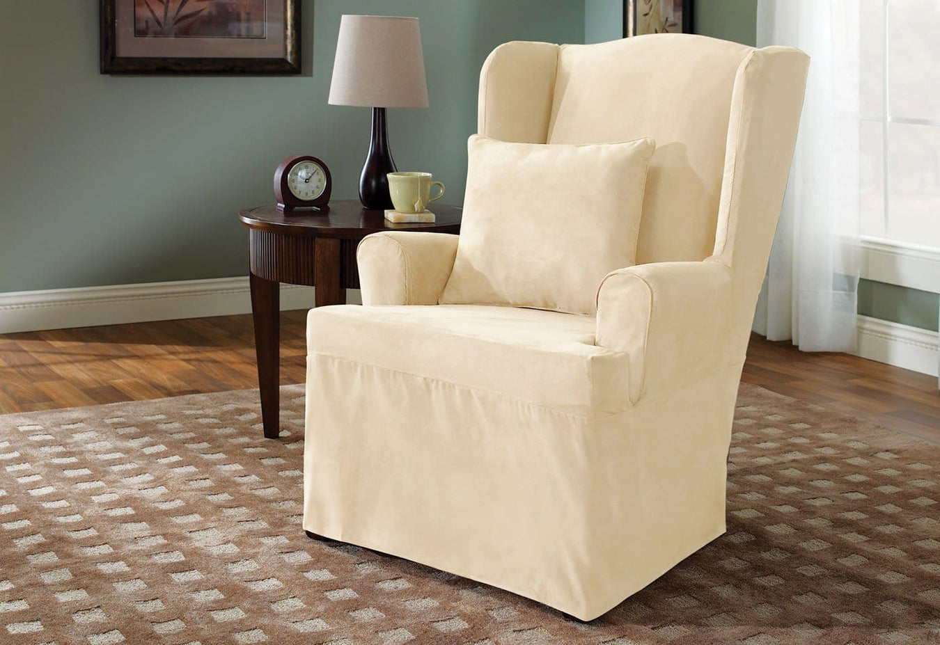 Soft Suede One Piece Wing Chair Slipcover