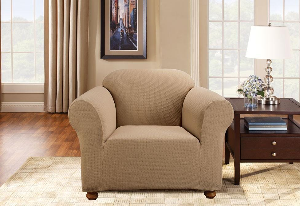 Simple Stretch Subway One Piece Chair Slipcover