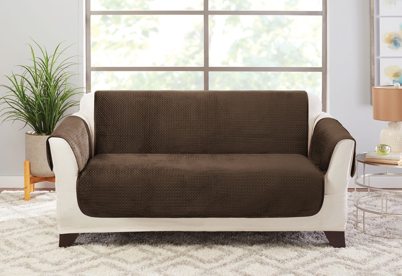 Elegant Pick Stitch Loveseat Furniture Cover 100% Polyester Pet Furniture Cover Machine Washable - Loveseat / Smokey Brown