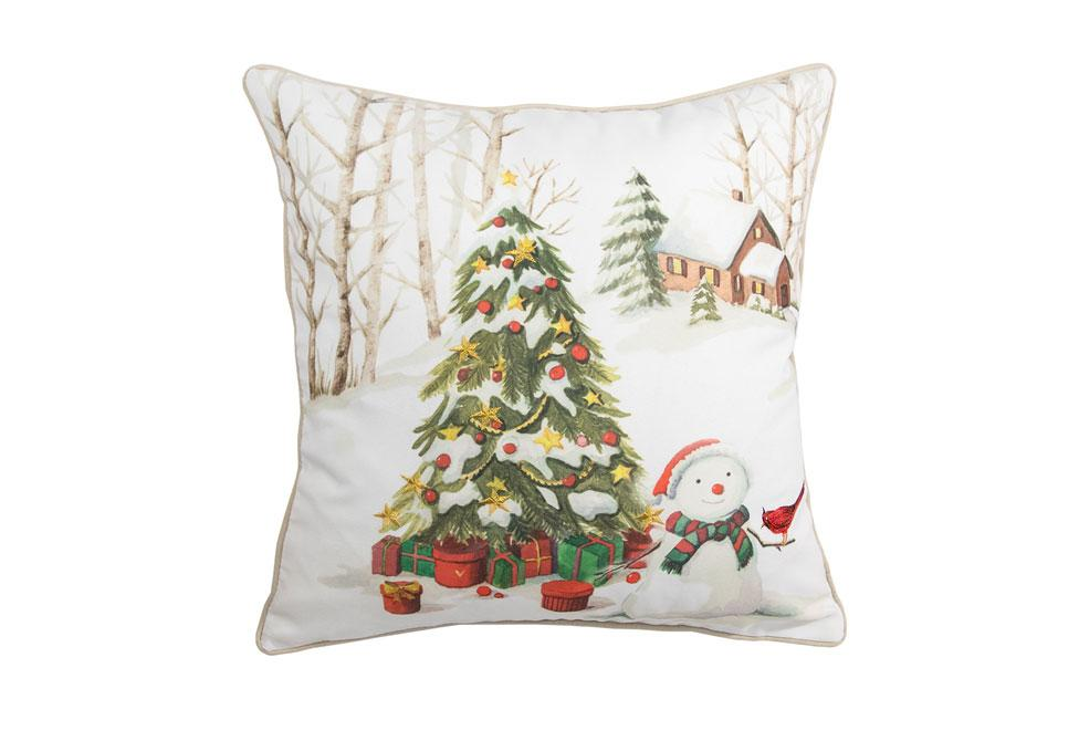 Snowmans Tree 18 Inch Square Decorative Pillow