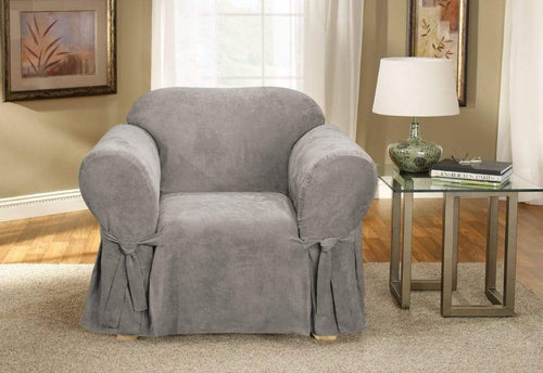 Soft Suede One Piece Chair Slipcover Gray