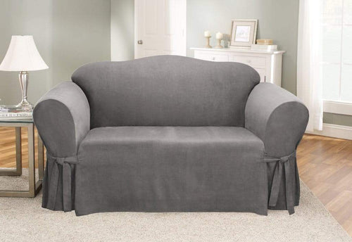 Soft Suede One Piece Loveseat Slipcover Gray