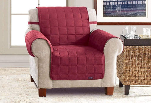 Soft Suede Waterproof Chair Furniture Cover with Strap Burgundy