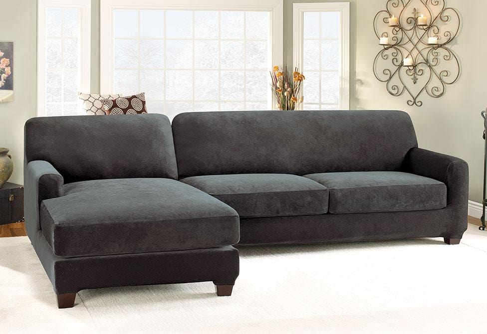 Stretch Pique Five Piece Sectional Slipcover   Left Chaise
