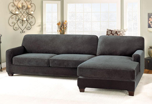 Stretch Pique Five Piece  Sectional Slipcover - Right Chaise
