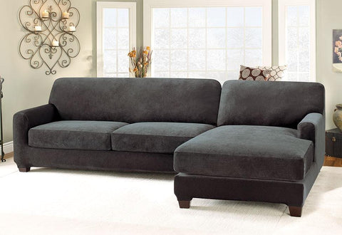 Stretch Pique Five Piece Sectional Slipcover   Right Chaise