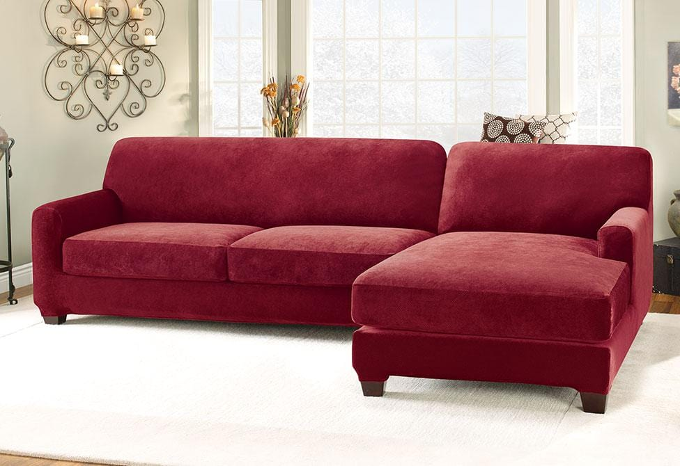 Stretch Pique Five Piece Sectional Slipcover Right
