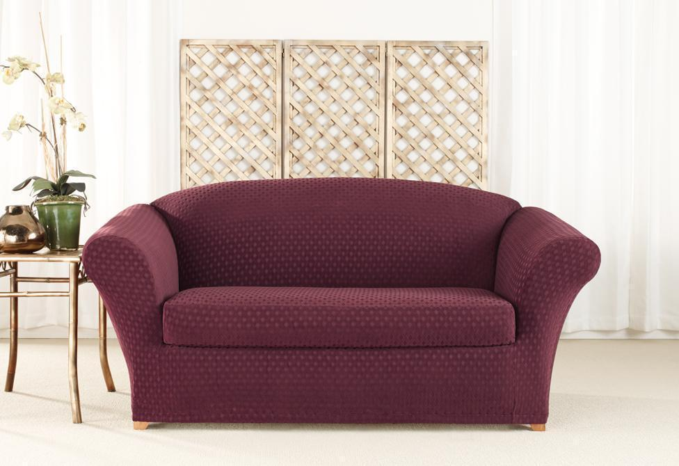 Stretch Nouveau Two Piece Loveseat Slipcover | Polyester/Spandex | Machine Washable