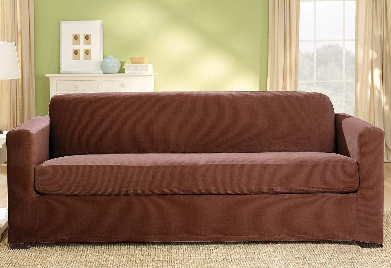 Stretch Corduroy Three Piece With Back Cushion Sofa