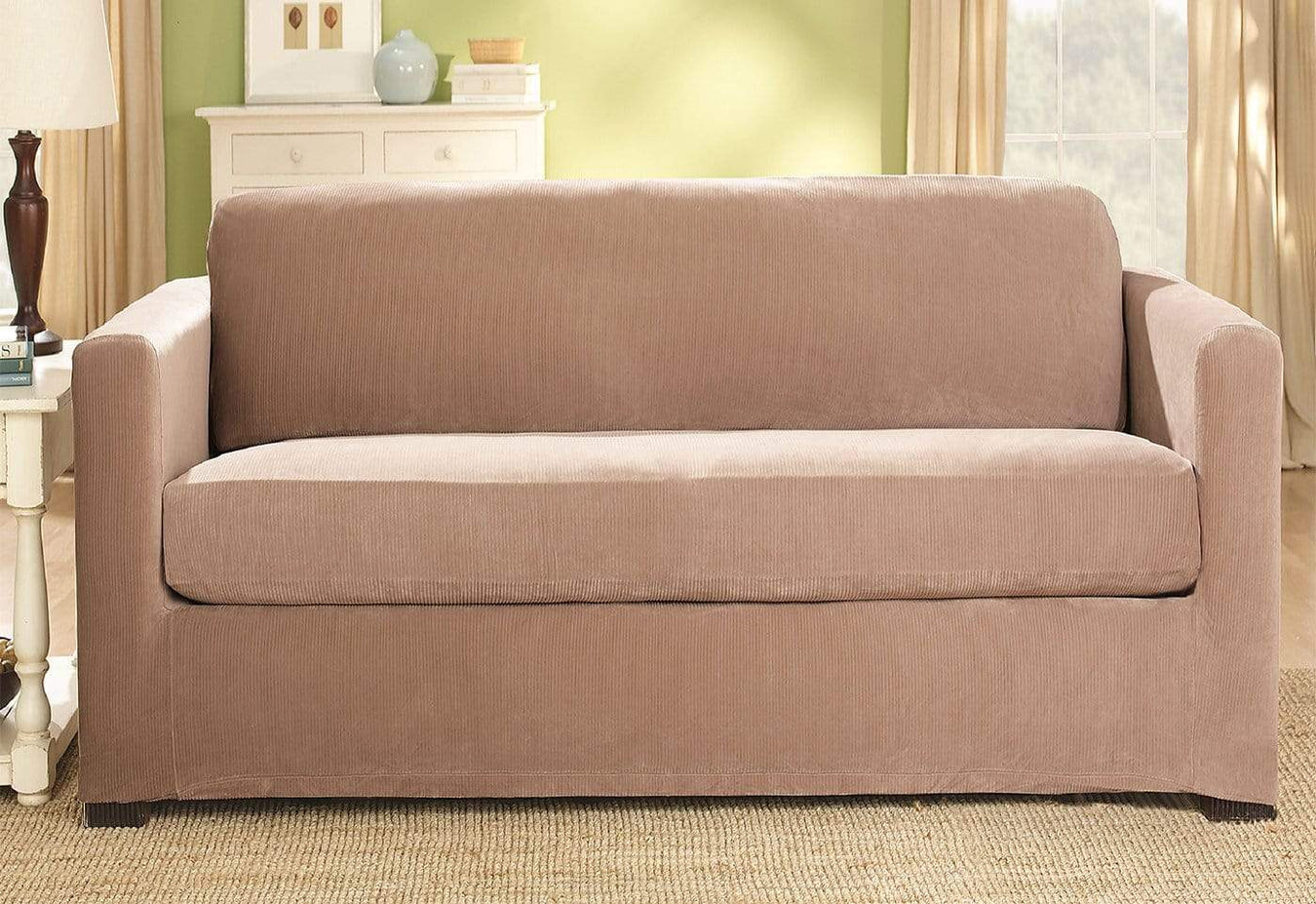 Stretch Corduroy Two Piece Loveseat Slipcover