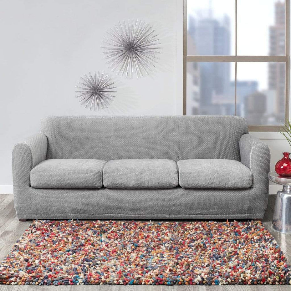 Stretch Modern Block Four Piece Sofa Slipcover Gray