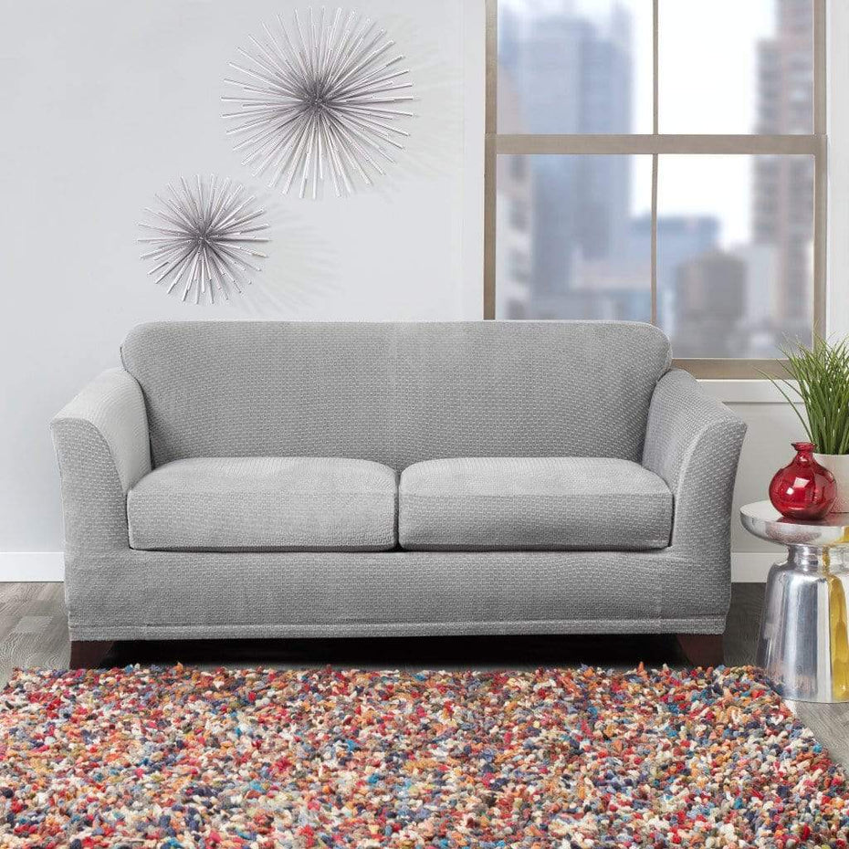 Stretch Modern Block Loveseat Slipcover Gray