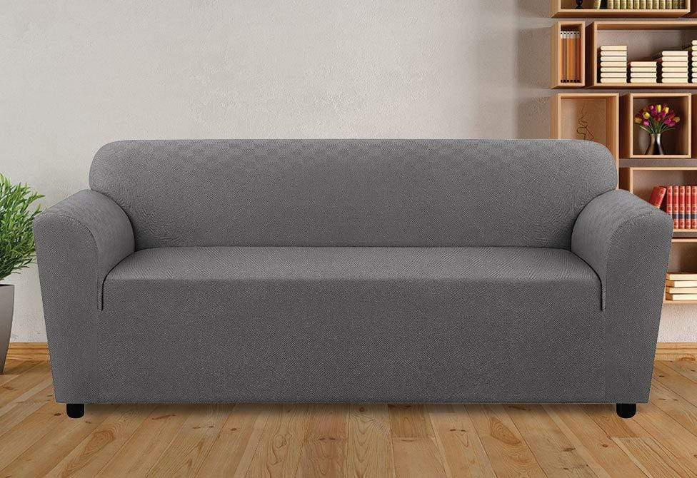 Stretch Modern Diamond One Piece Sofa Slipcover Gray