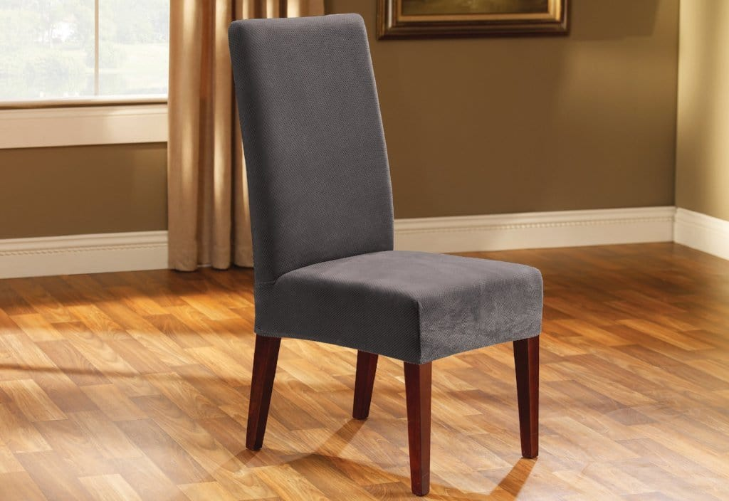 Stretch Oxford Short Dining Room Chair Slipcover Gray