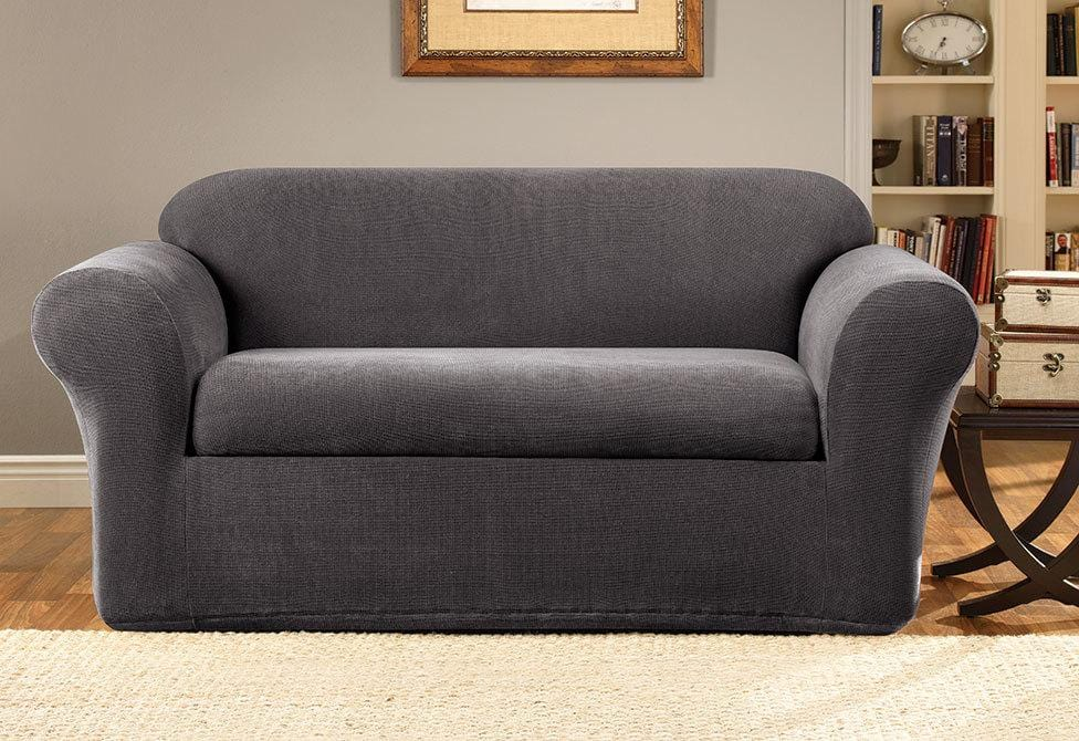 Stretch Oxford Two Piece Loveseat Slipcover Gray