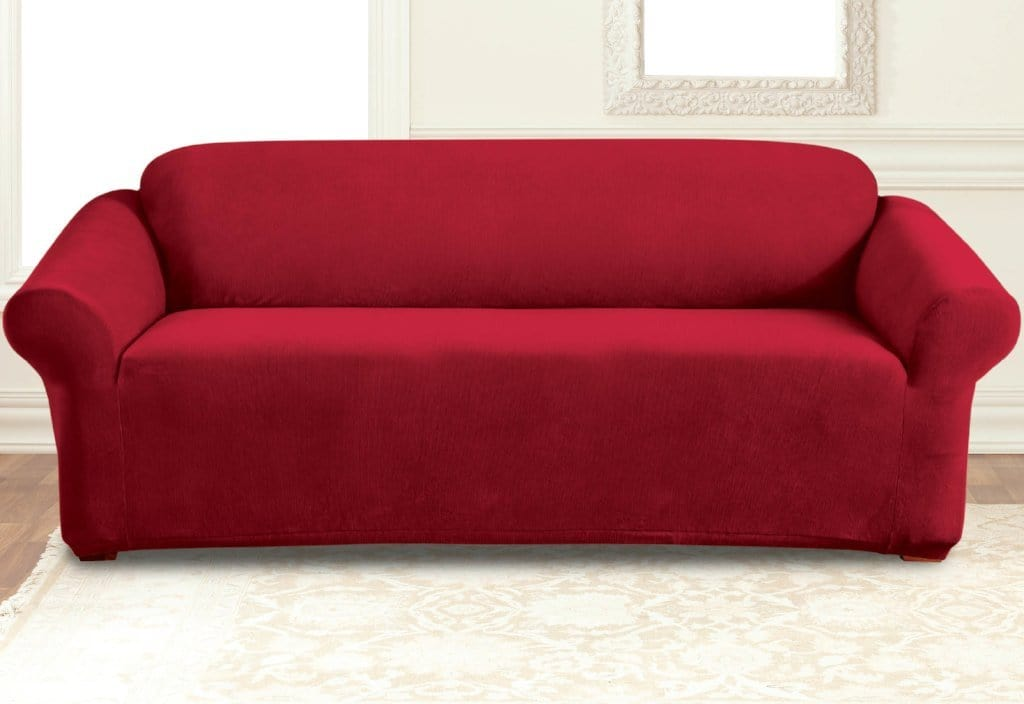 Stretch Pearson One Piece Sofa Slipcover Crimson