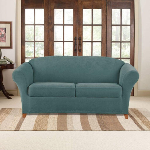 Stretch Pique Three Piece Loveseat Slipcover