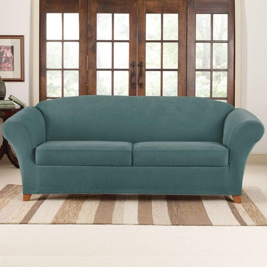 Sensational Stretch Pique Three Piece Sofa Slipcover Form Fitting Individual Cushion Covers Machine Washable Pdpeps Interior Chair Design Pdpepsorg