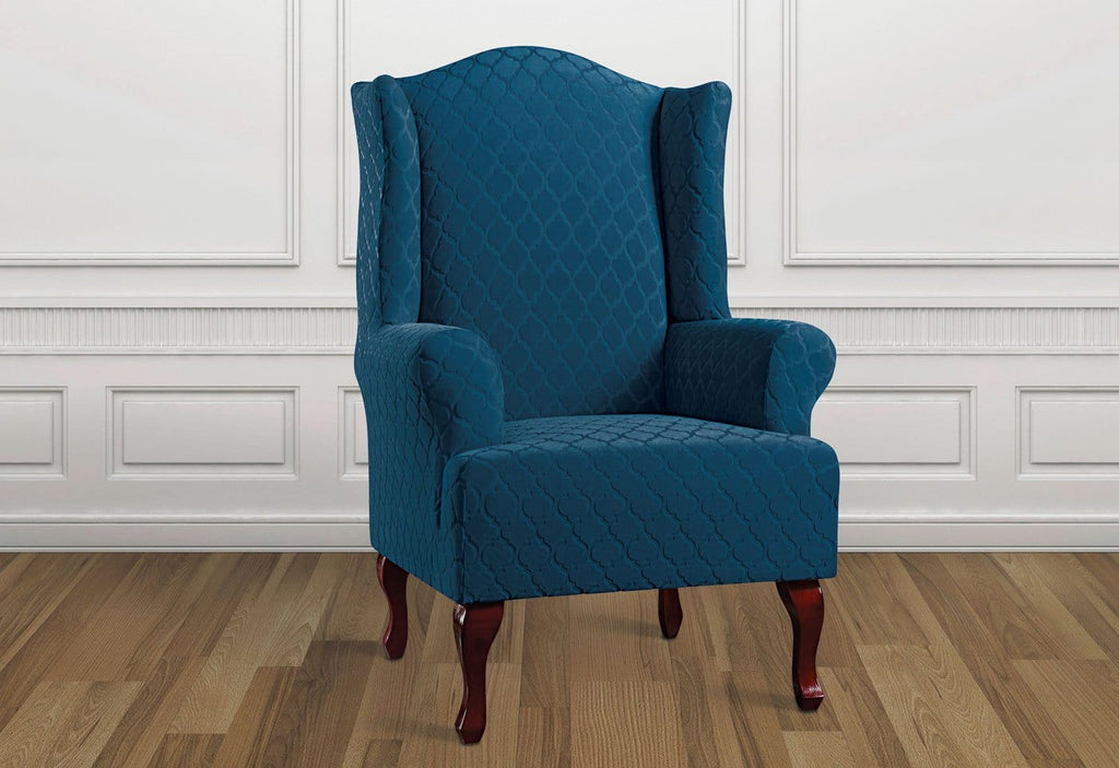 Stretch Grand Marrakesh One Piece Wing Chair Slipcover Form Fit T Surefit