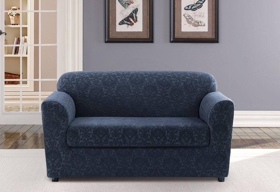 Stretch Ikat Two Piece Loveseat Slipcover