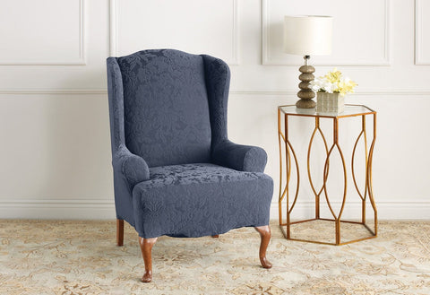 Bon Stretch Jacquard Damask One Piece Wing Chair Slipcover