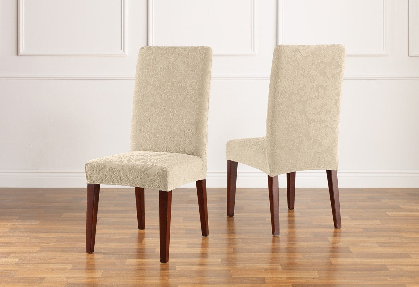 Stretch Jacquard Damask Short Dining Chair Slipcover U2013 SureFit