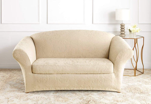 Stretch Jacquard Damask Two Piece Loveseat Slipcover