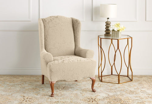 Stretch Jacquard Damask One Piece Wing Chair Slipcover