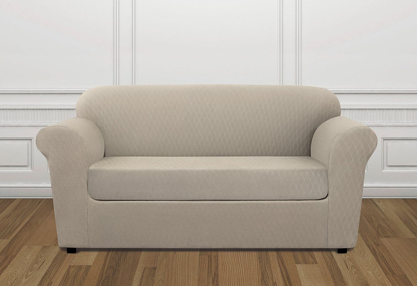 Stretch Lattice Two Piece Loveseat Slipcover