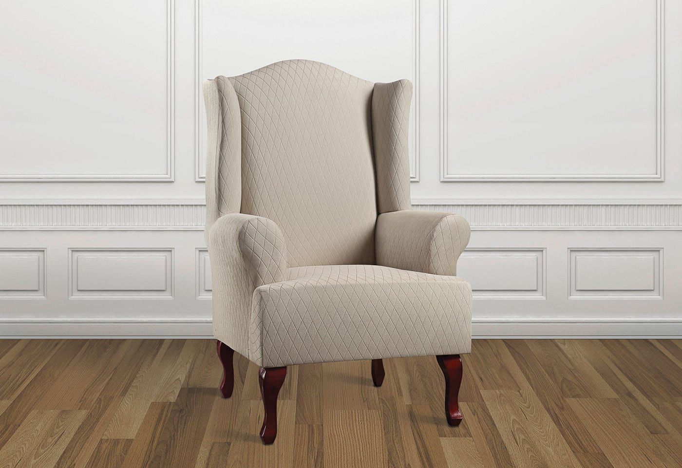 Stretch Lattice One Piece Wing Chair Slipcover