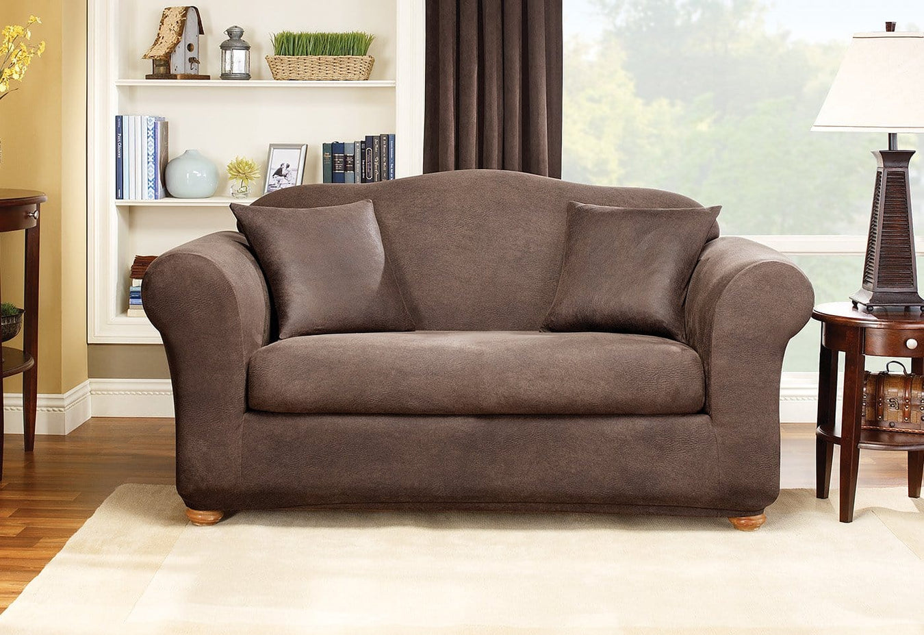 Stretch Leather Two Piece Sofa Slipcover Slipcovers For