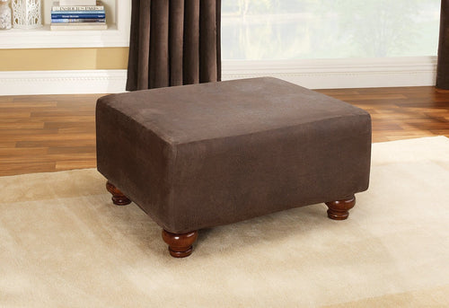 Stretch Leather One Piece Ottoman Slipcover