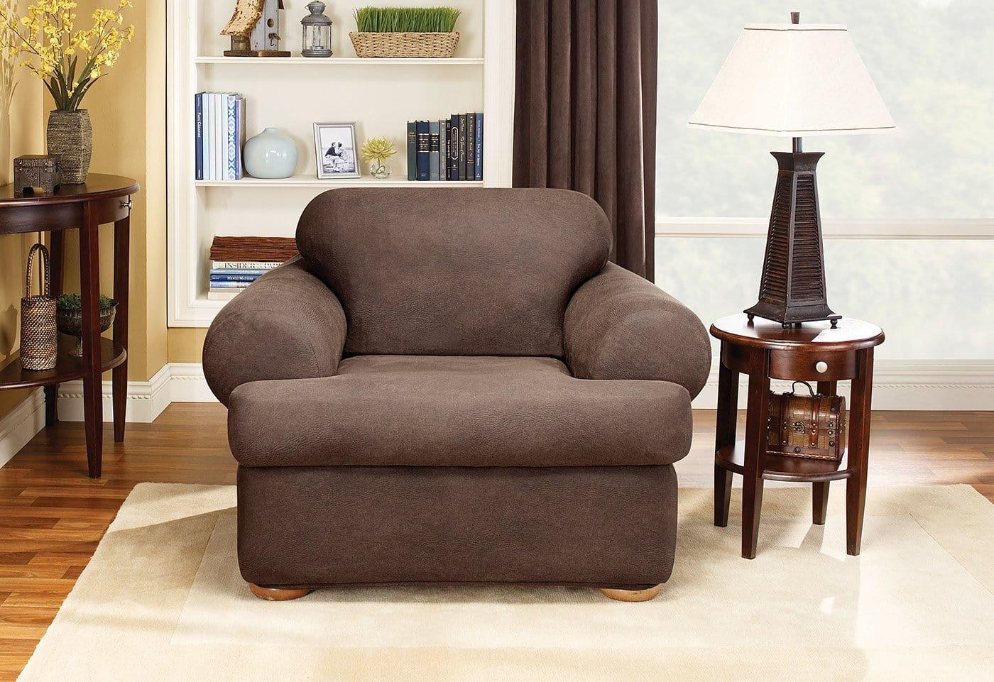 Superieur Stretch Leather Two Piece Chair Slipcover