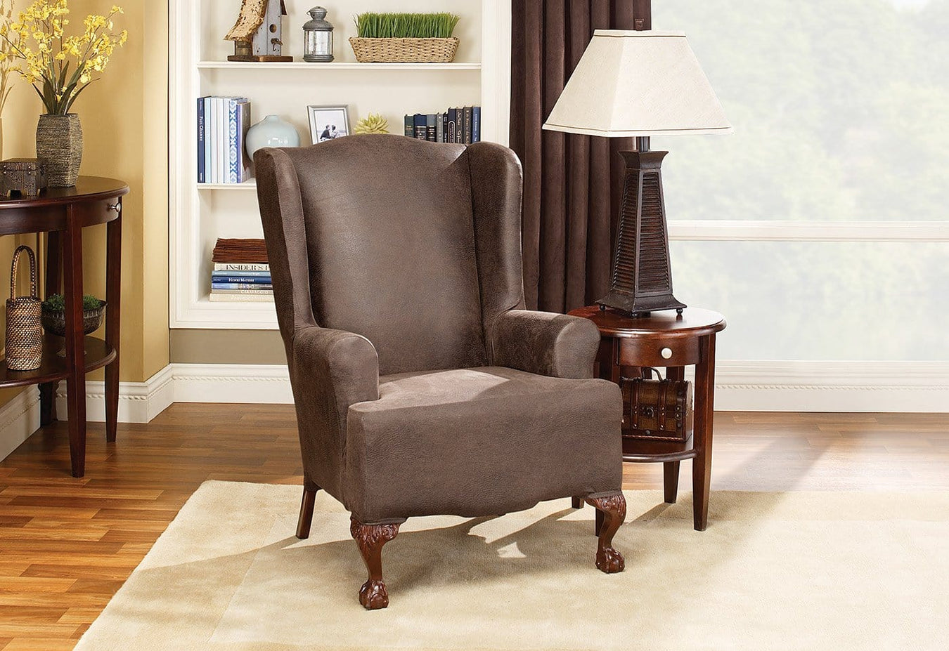 Stretch Leather One Piece Wing Chair Slipcover