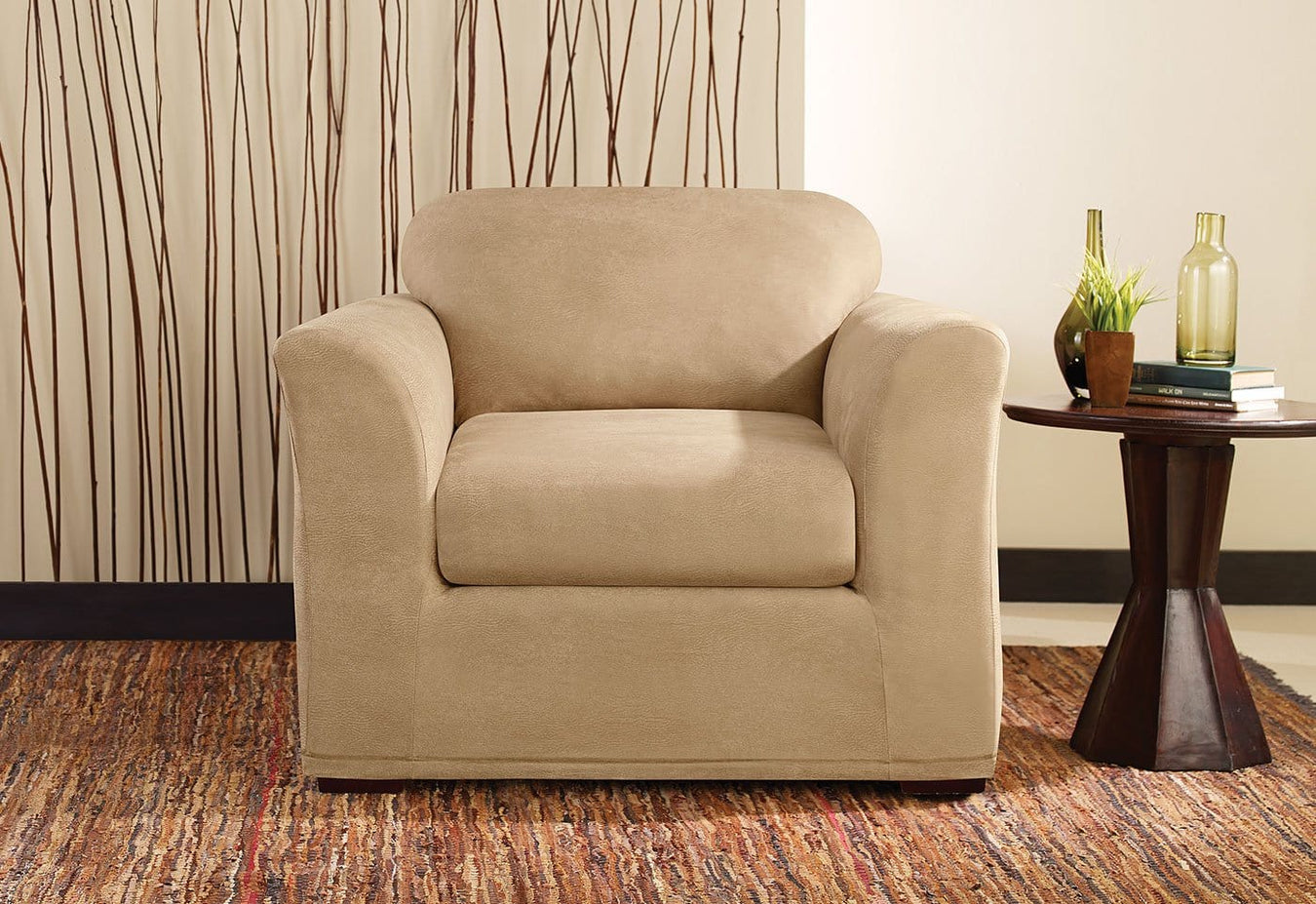 Stretch Leather Two Piece Chair Slipcover | SureFit