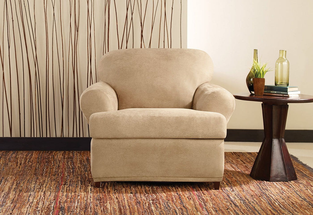 Stretch Leather Two Piece Chair Slipcover Surefit