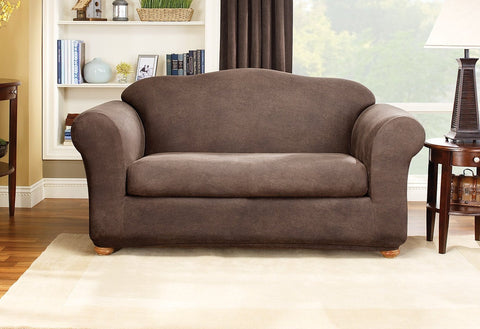 Ordinaire Stretch Leather Two Piece Loveseat Slipcover