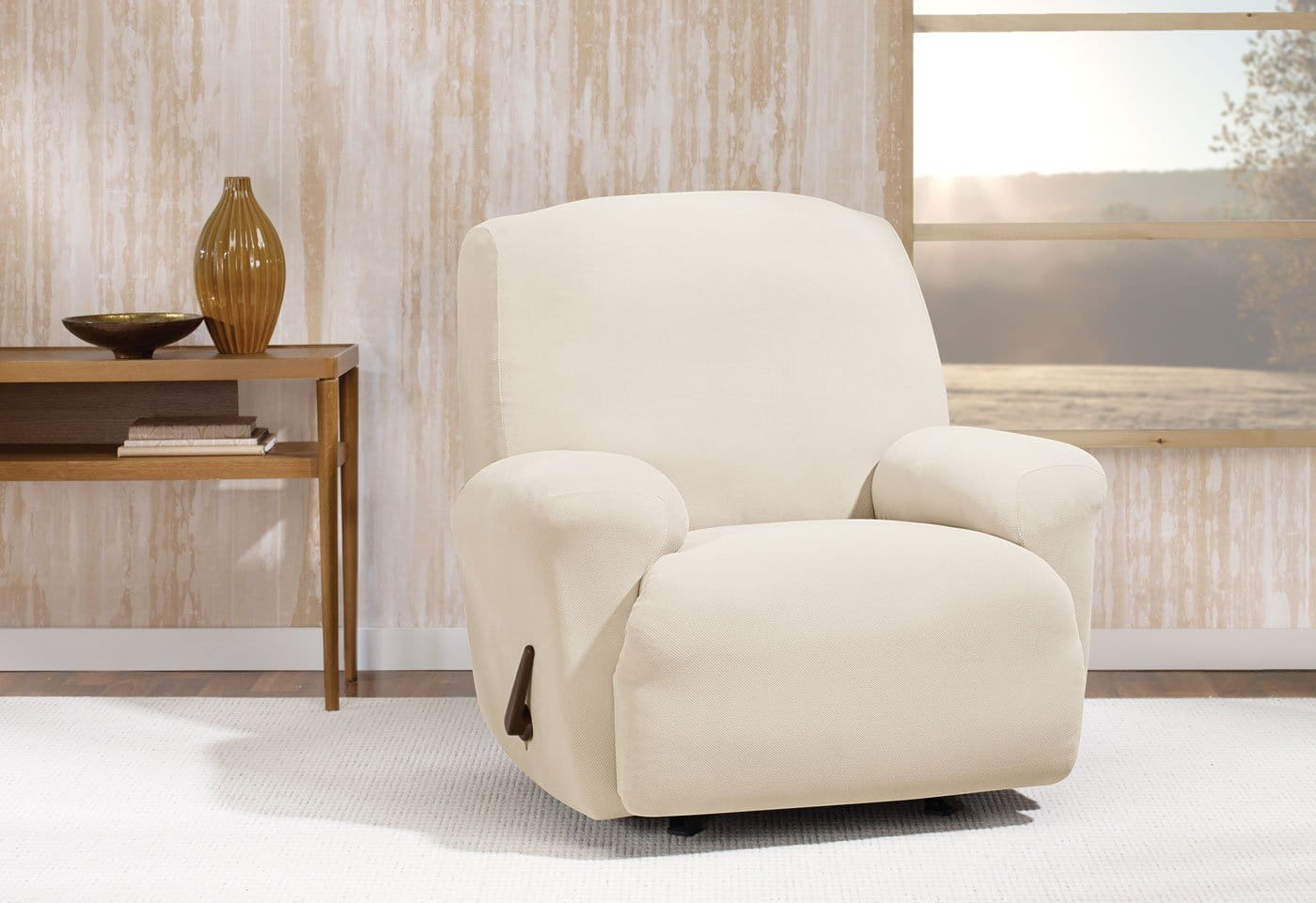 Stretch Morgan Recliner Slipcover Form Fit Machine Washable - Recliner / Ivory