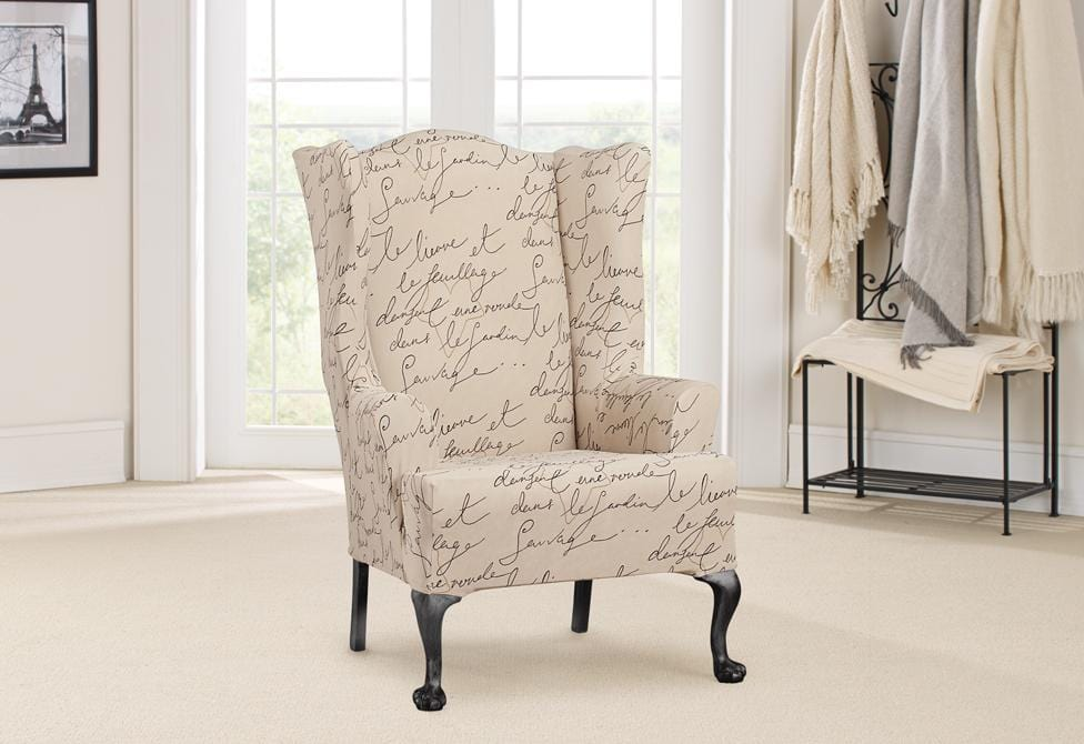 Stretch Pen Pal By Waverly One Piece Wing Chair Slipcover