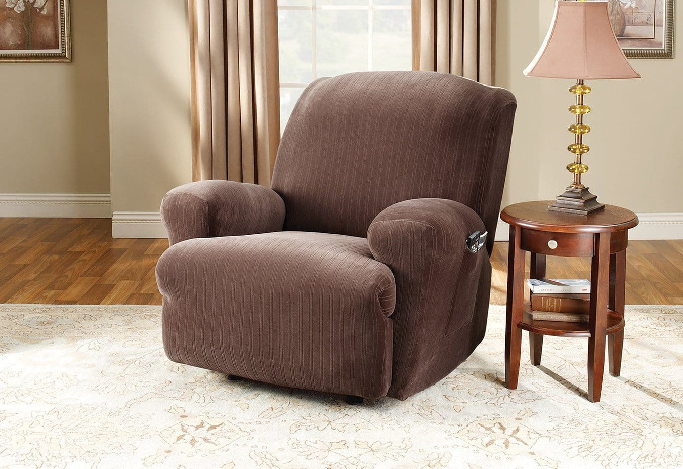 Stretch Pinstripe Recliner Slipcover Home Sure fit slipcover pin stripe