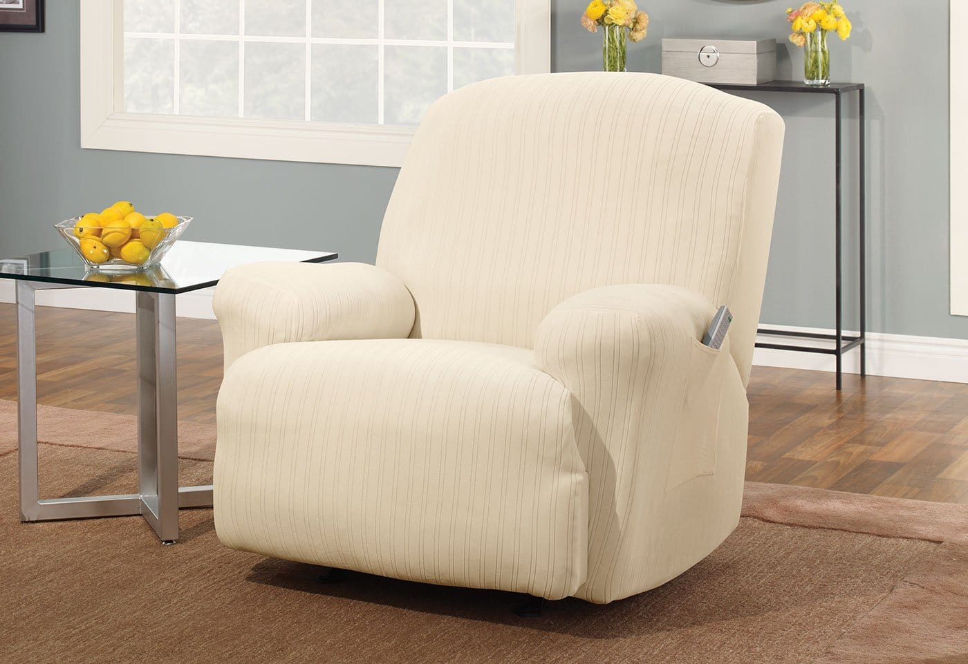 Stretch Pinstripe One Piece Recliner Slipcover Form Fit Machine Washable - Recliner / Cream