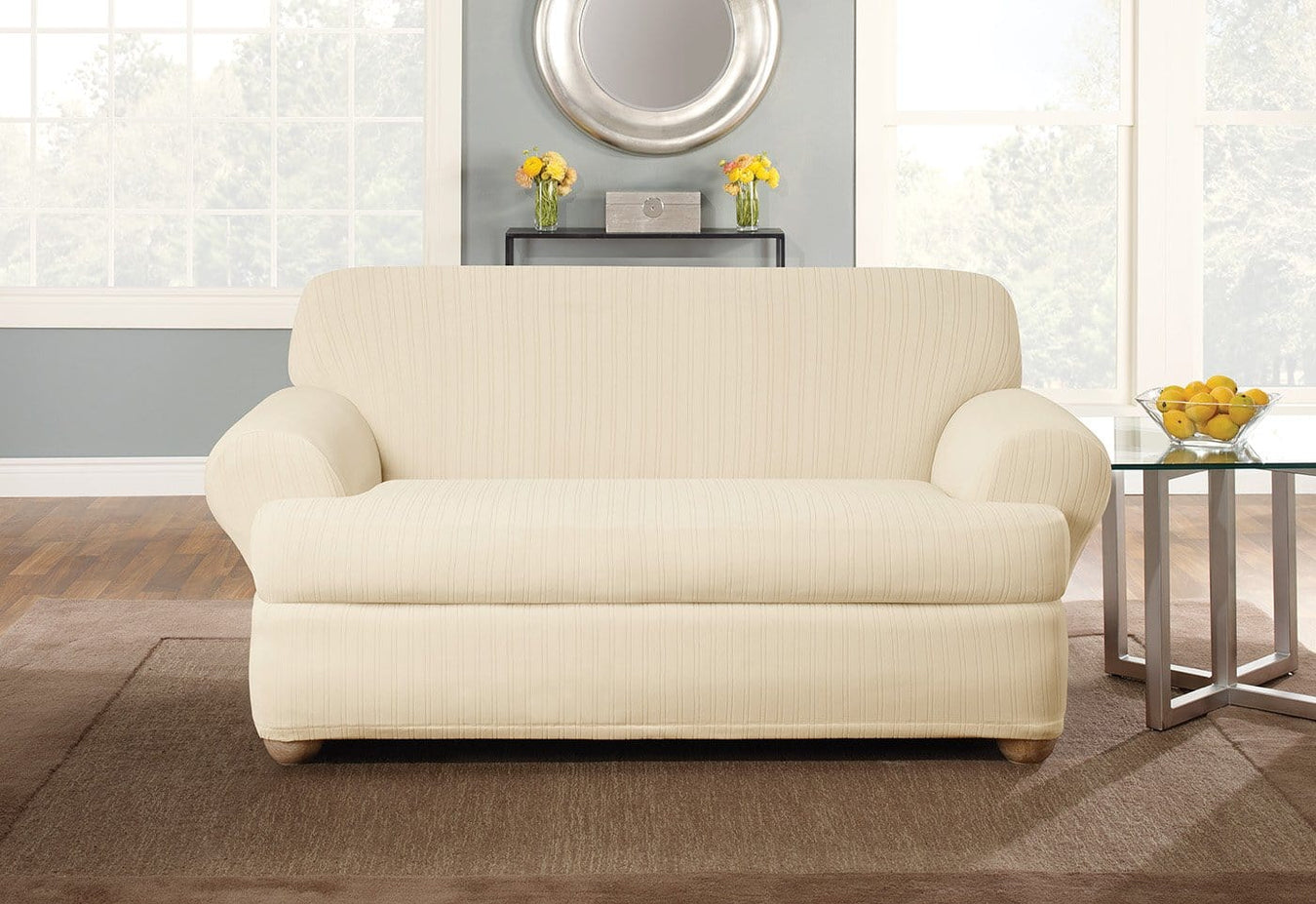 Stretch Pinstripe Two Piece Loveseat Slipcovers