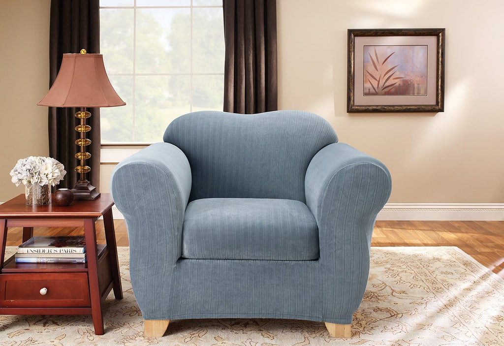 Stretch Pinstripe Two Piece Chair Slipcover Surefit