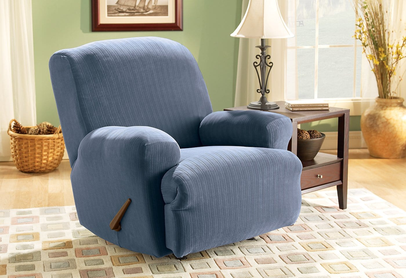Stretch Pinstripe One Piece Recliner Slipcover Form Fit Machine Washable - Recliner / French Blue