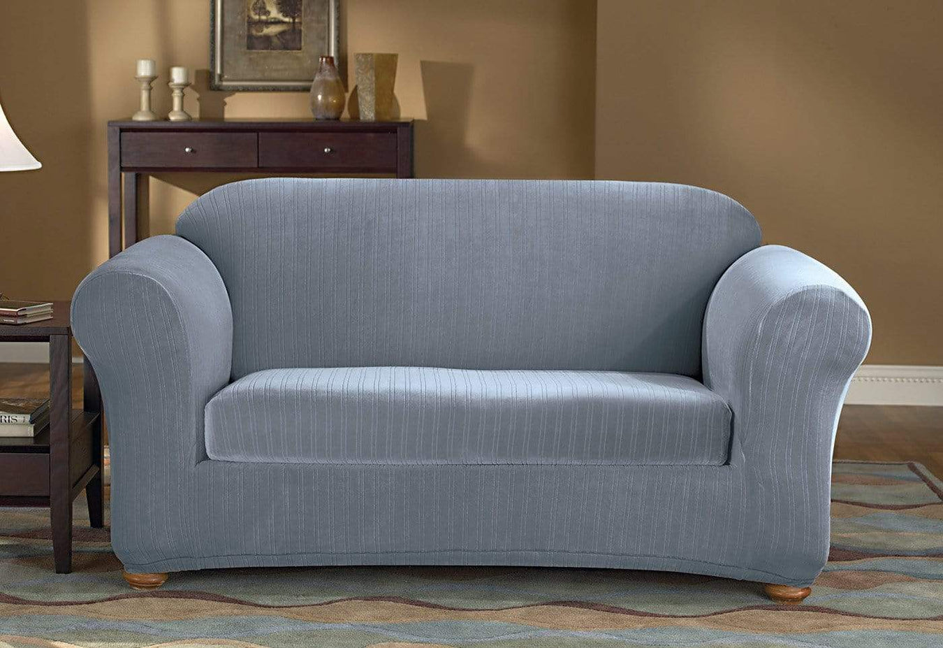 Stretch Pinstripe Two Piece Sofa Slipcover Form Fit