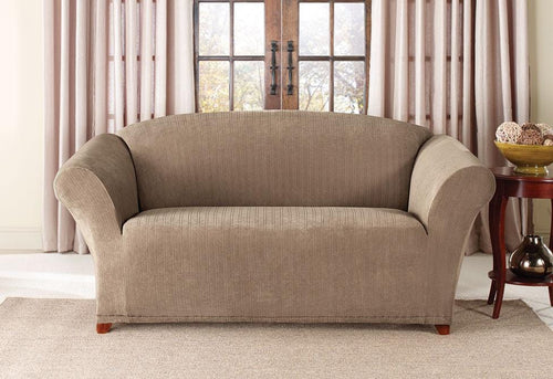 Stretch Pinstripe One Piece Loveseat Slipcover
