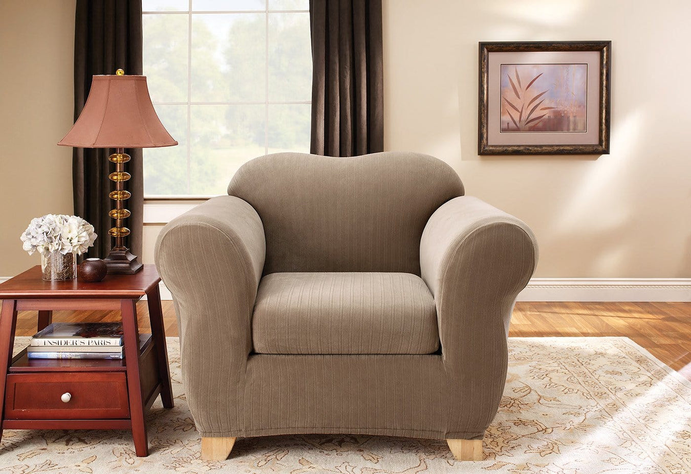 Stretch Pinstripe Two Piece Chair Slipcover Slipcovers