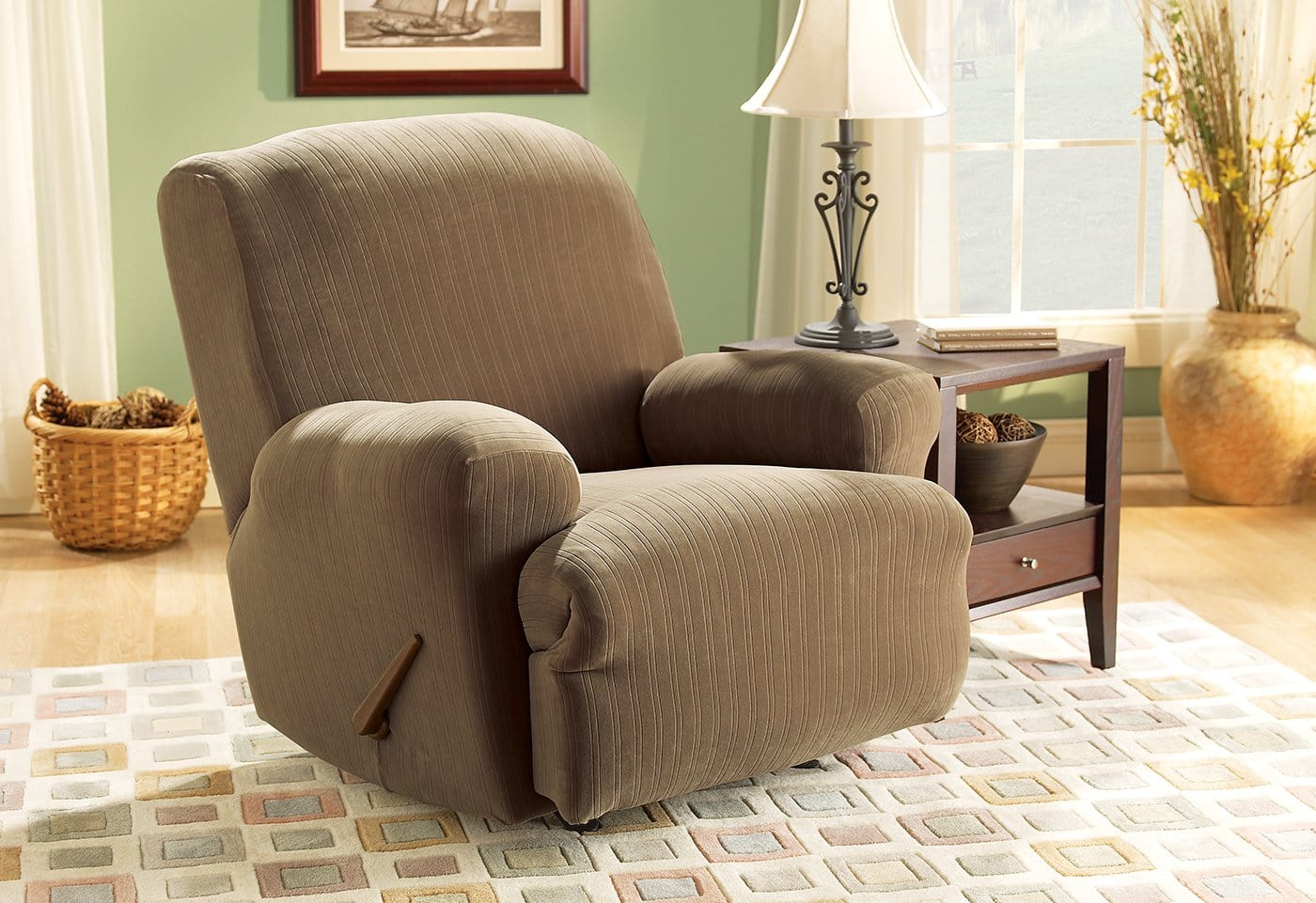 Stretch Pinstripe One Piece Recliner Slipcover Form Fit Machine Washable - Recliner / Taupe