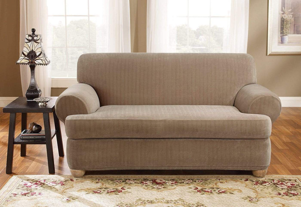 Stretch Pinstripe Two Piece Sofa Slipcover Surefit
